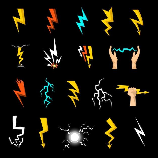 Conjunto de ícones de relâmpago Vetor grátis
