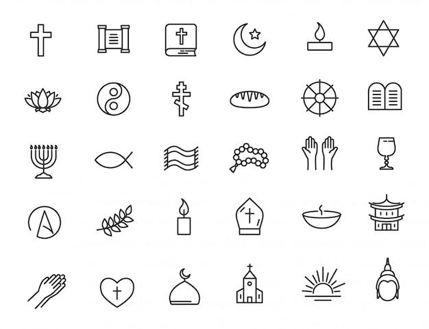 Conjunto de ícones de religião lineares ícones de fé Vetor Premium