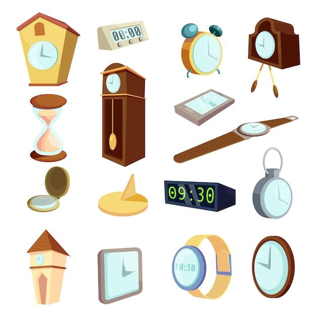 Conjunto de ícones de relógios diferentes, estilo cartoon Vetor Premium