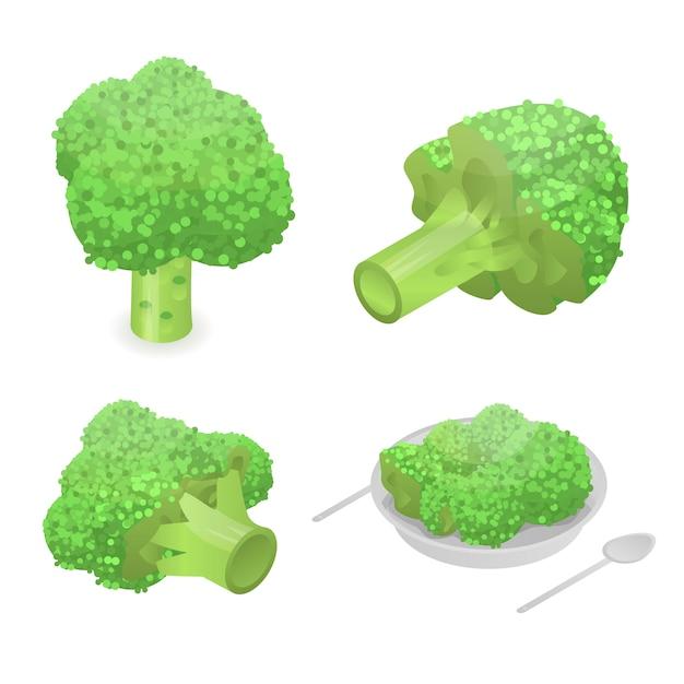 Conjunto de ícones de repolho brócolis. conjunto isométrico de ícones de vetor de repolho brócolis para web design isolado no fundo branco Vetor Premium