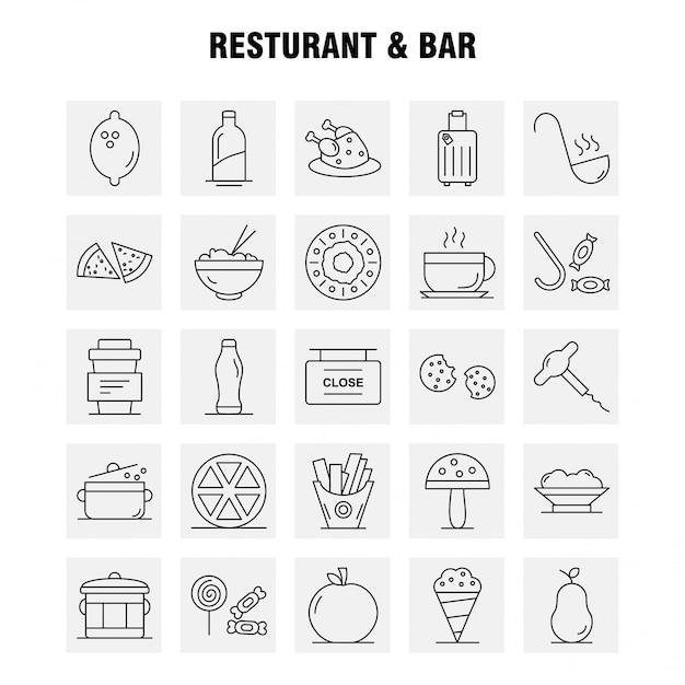 Conjunto de ícones de restaurante e bar Vetor Premium