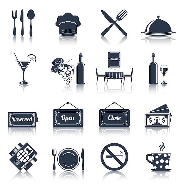 Conjunto de ícones de restaurante preto Vetor Premium
