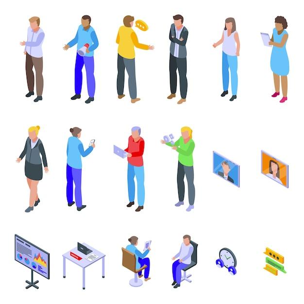 Conjunto de ícones de reunião. conjunto isométrico de ícones de reunião para web isolado no fundo branco Vetor Premium