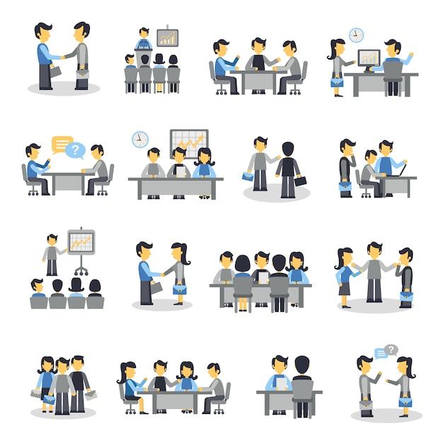 Conjunto de ícones de reunião plana Vetor grátis