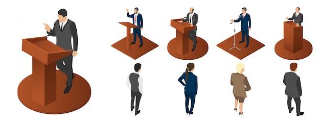 Conjunto de ícones de reunião política Vetor Premium