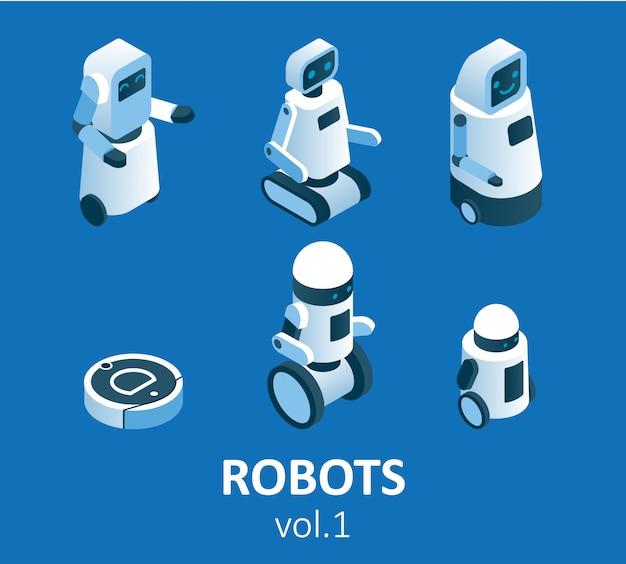 Conjunto de ícones de robótica moderna isométrica Vetor Premium