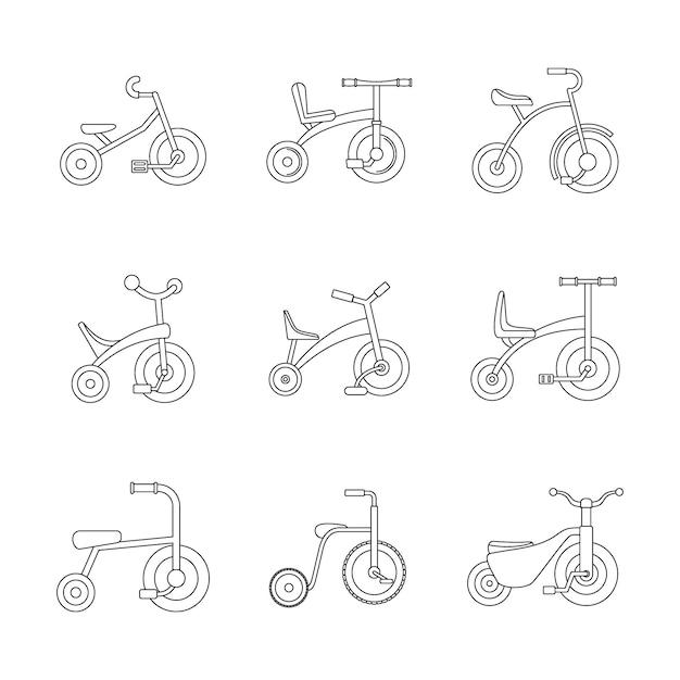 Conjunto de ícones de roda de bicicleta de triciclo Vetor Premium