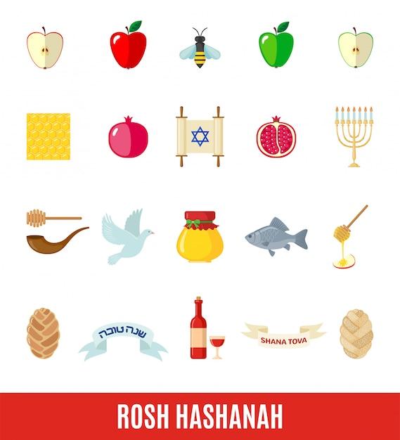 Conjunto de ícones de rosh hashaná em estilo simples. Vetor Premium