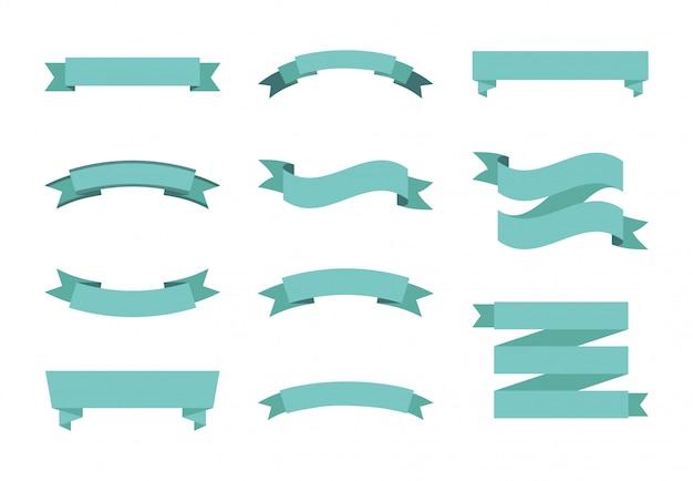 Conjunto de ícones de rótulo azul isolado Vetor grátis