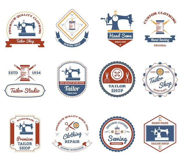 Conjunto de ícones de rótulos originais de loja de alfaiate Vetor grátis