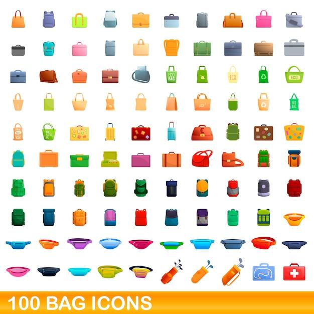 Conjunto de ícones de saco. ilustração dos desenhos animados de ícones de bolsa em fundo branco Vetor Premium