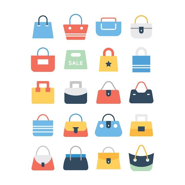 Conjunto de ícones de sacola de compras Vetor Premium