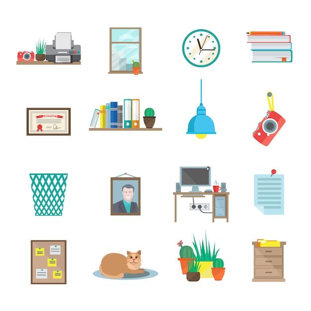 Conjunto de ícones de sala de trabalho Vetor grátis