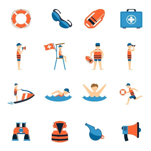 Conjunto de ícones de salva-vidas Vetor grátis