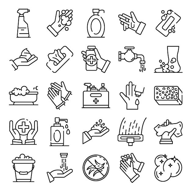 Conjunto de ícones de saneamento, estilo de estrutura de tópicos Vetor Premium