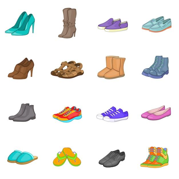 Conjunto de ícones de sapato Vetor Premium
