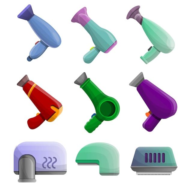 Conjunto de ícones de secador. conjunto de desenhos animados de ícones de vetor de secador para web design Vetor Premium