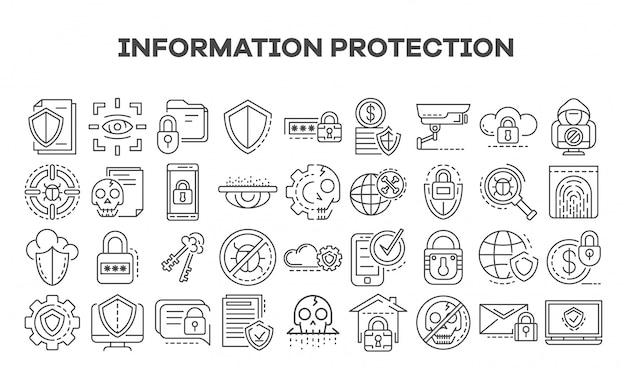 Conjunto de ícones de segurança de computador. conjunto de contorno de ícones de vetor de segurança de computador Vetor Premium