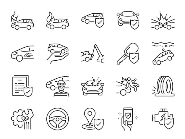 Conjunto de ícones de seguro de carro Vetor Premium