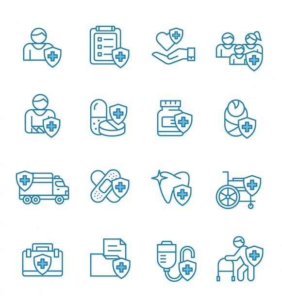 Conjunto de ícones de seguro de saúde com estilo de estrutura de tópicos. Vetor Premium