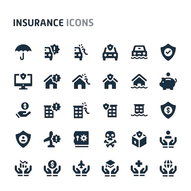 Conjunto de ícones de seguros. série de ícone preto fillio. Vetor Premium
