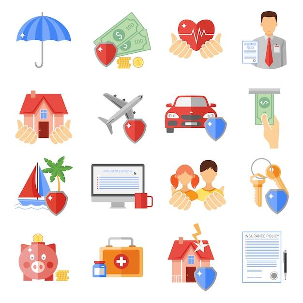 Conjunto de ícones de seguros Vetor grátis