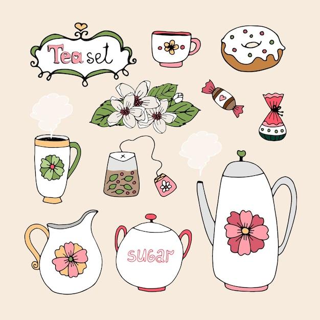 Conjunto de ícones de serviço de chá com xícara de bule Vetor grátis