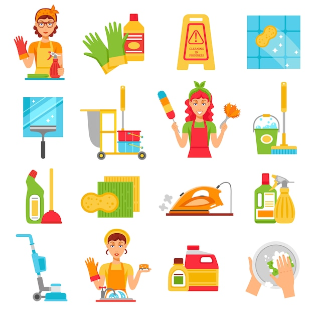 Conjunto de ícones de serviço de limpeza Vetor grátis
