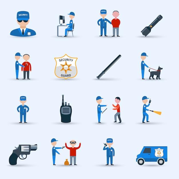 Conjunto de ícones de serviço de segurança Vetor grátis