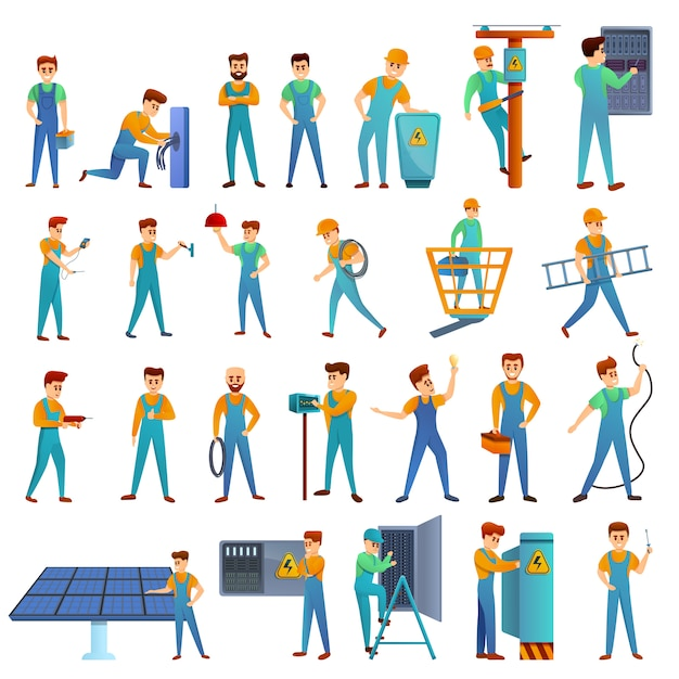 Conjunto de ícones de serviço eletricista, estilo cartoon Vetor Premium