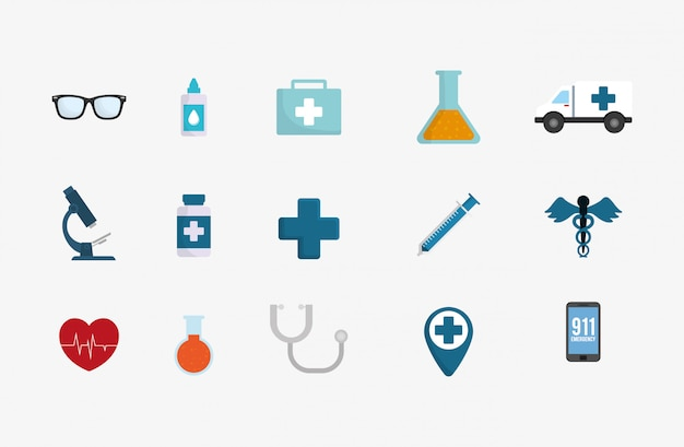 Conjunto de ícones de serviço médico Vetor Premium