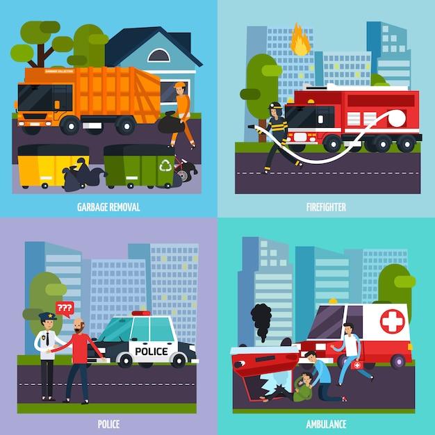 Conjunto de ícones de serviços de emergência Vetor grátis