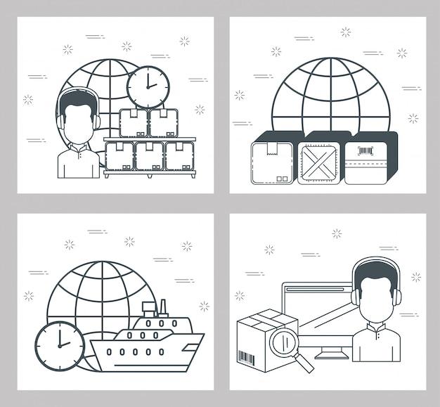 Conjunto de ícones de serviços de logística Vetor grátis