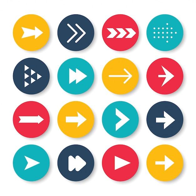 Conjunto de ícones de setas. Vetor Premium
