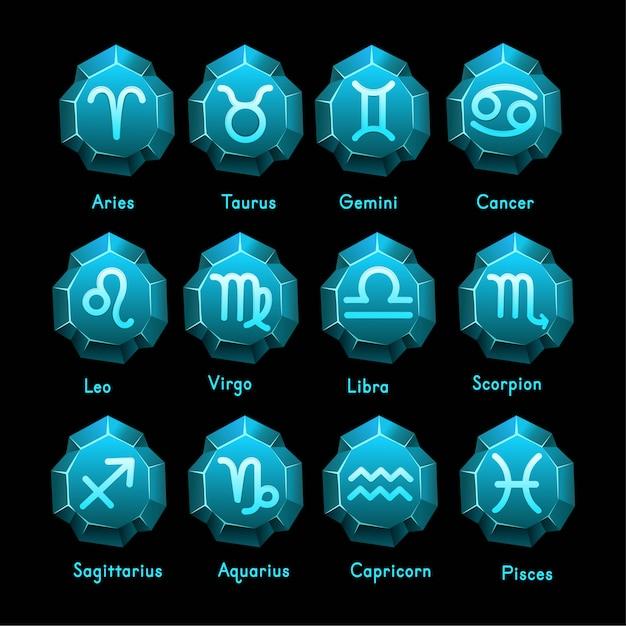 Conjunto de ícones de signos do zodíaco. áries, touro, gêmeos, câncer, leo, virgem, libra, escorpião, sagitário, aquário, capricórnio, peixes. ilustração vetorial no estilo de linha dos desenhos animados. Vetor Premium