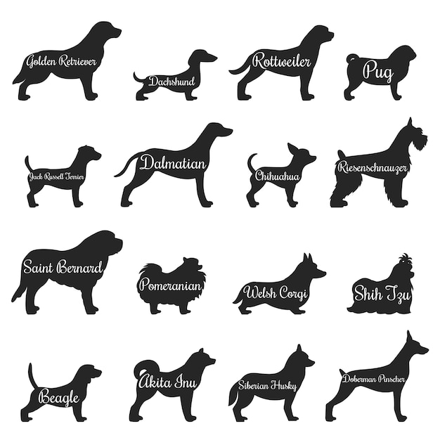 Conjunto de ícones de silhueta de perfil de cães Vetor Premium