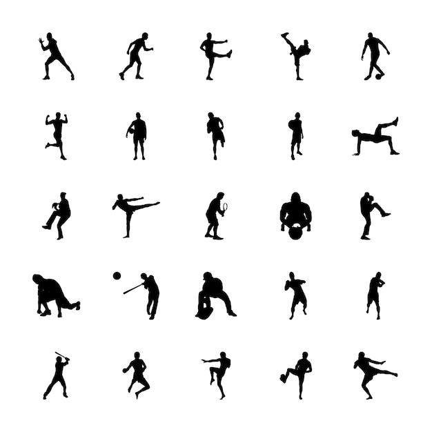 Conjunto de ícones de silhuetas dos jogos olímpicos Vetor Premium