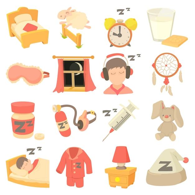 Conjunto de ícones de símbolos de dormir Vetor Premium