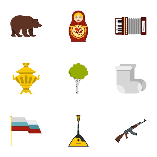 Conjunto de ícones de símbolos de país rússia, estilo simples Vetor Premium