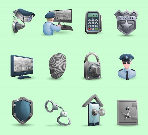 Conjunto de ícones de símbolos de segurança Vetor grátis