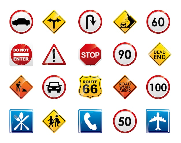 Conjunto de ícones de sinal de estrada isolado Vetor grátis