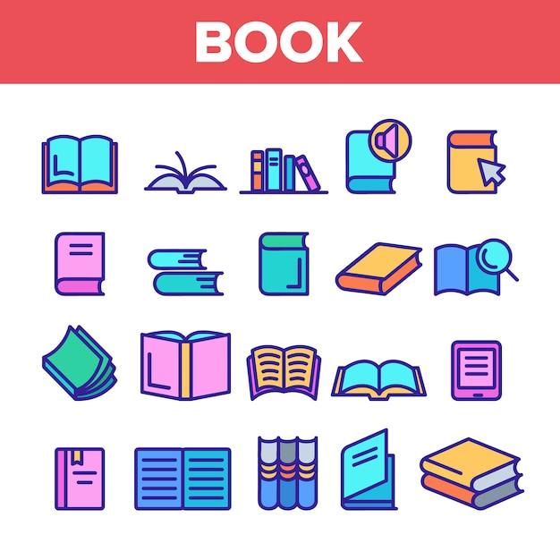 Conjunto de ícones de sinal de livro da biblioteca Vetor Premium