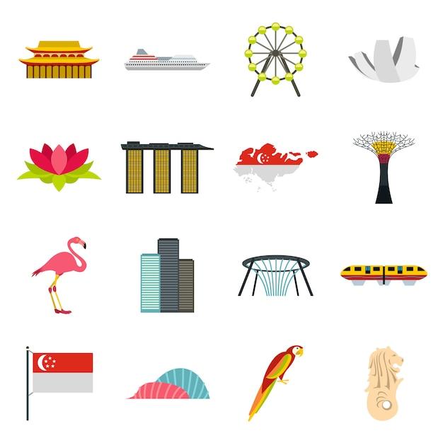 Conjunto de ícones de singapura Vetor Premium