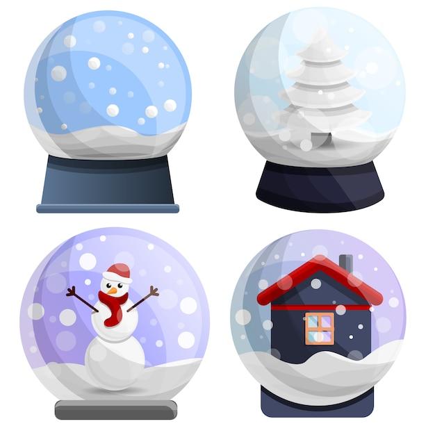 Conjunto de ícones de snowglobe, estilo cartoon Vetor Premium