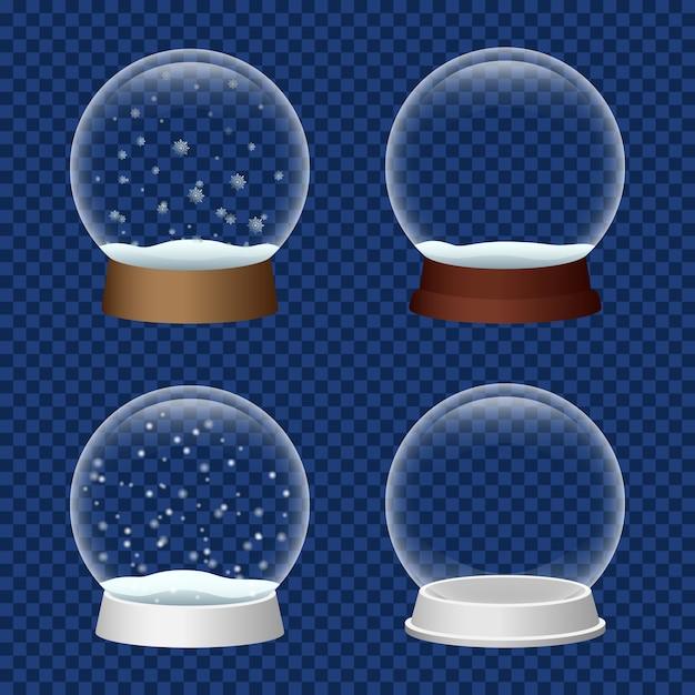 Conjunto de ícones de snowglobe, estilo realista Vetor Premium