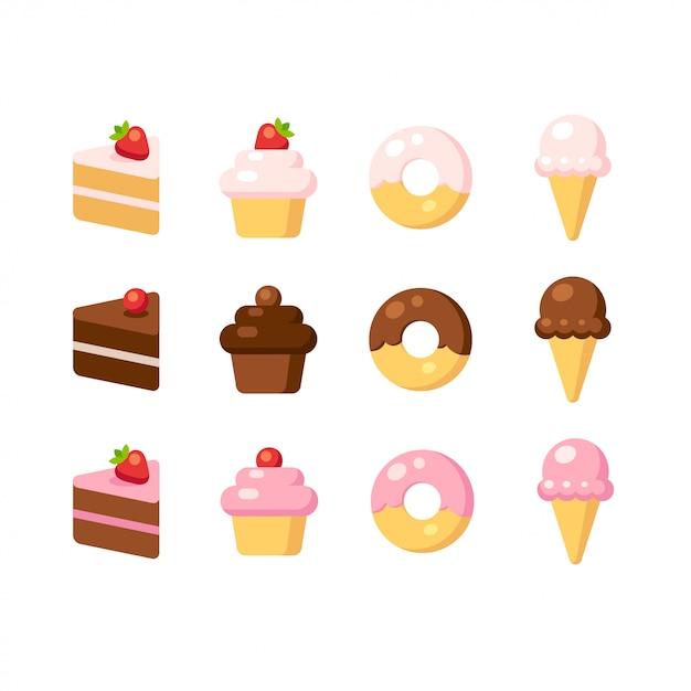 Conjunto de ícones de sobremesa dos desenhos animados. bolo, cupcake, rosquinha e sorvete em sabores diferentes. Vetor Premium