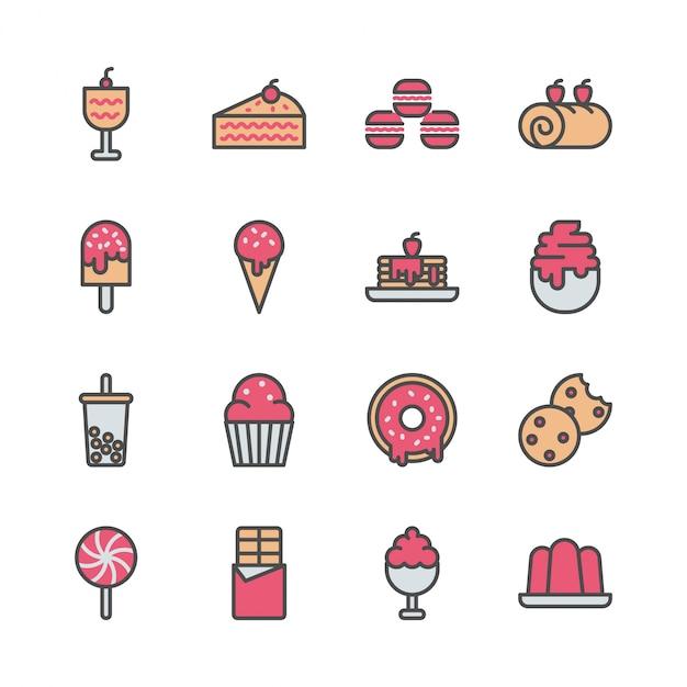 Conjunto de ícones de sobremesa em design de cor cheia Vetor Premium