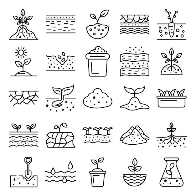Conjunto de ícones de solo solo, estilo de estrutura de tópicos Vetor Premium