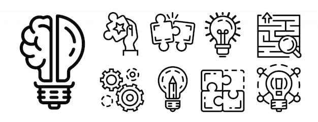 Conjunto de ícones de solução, estilo de estrutura de tópicos Vetor Premium