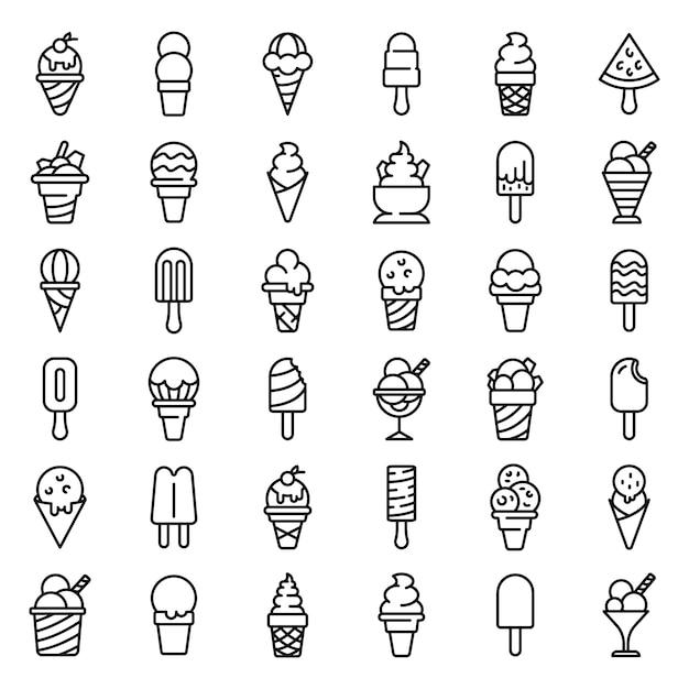 Conjunto de ícones de sorvete, estilo de estrutura de tópicos Vetor Premium